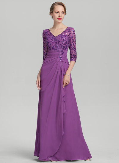 A-Line/Princess V-neck Floor-Length Chiffon Sequined Mother of the Bride Dress With Cascading Ruffles