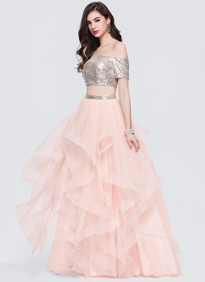 Ball-Gown Off-the-Shoulder Floor-Length Tulle Prom Dress