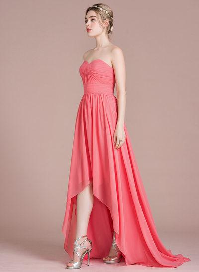 A-Line/Princess Sweetheart Asymmetrical Chiffon Bridesmaid Dress With Ruffle