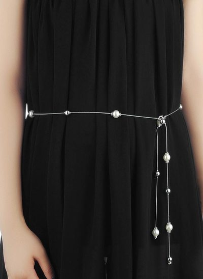Fashional Alloy Belt With Imitation Pearls