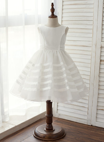Princesový Po kolena Flower Girl Dress - Taffeta Bez rukávů Scoop Neck
