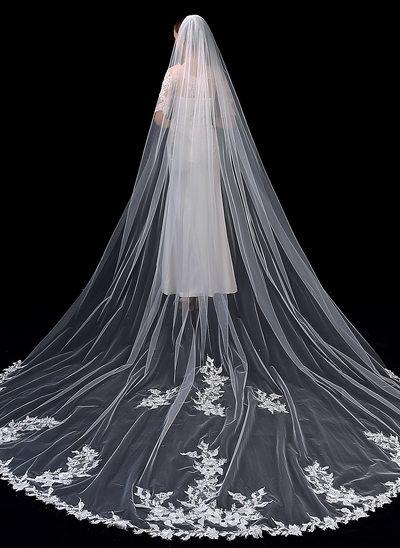Einschichtig Spitze Saum Kapelle Braut Schleier mit Spitze