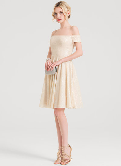 A-Line/Princess Off-the-Shoulder Knee-Length Sequined Cocktail Dress