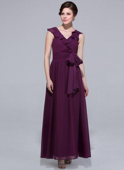 Forme Princesse Col V Longueur cheville Mousseline Robe de demoiselle d'honneur avec À ruban(s) Robe à volants