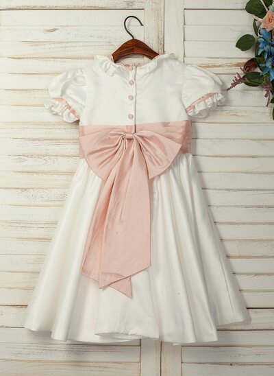 A-Line/Princess Knee-length Flower Girl Dress - Taffeta/Satin Short Sleeves Peter Pan Collar With Ruffles/Sash/Bow(s) (Undetachable sash)