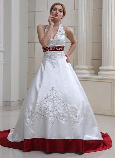 Платье для Балла С бретелью через шею Церемониальный шлейф Атлас Свадебные Платье с Вышито развальцовка блестки