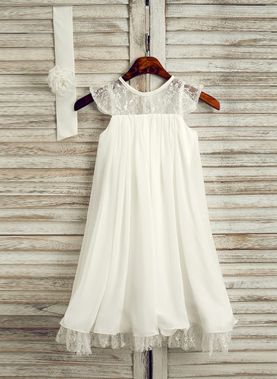 A-Line/Princess Tea-length Flower Girl Dress - Chiffon Sleeveless Scoop Neck With Lace