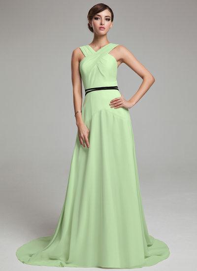 Çan/Prenses V yaka Kuyruklu Şifon Tatil Elbisesi Ile Büzgü Kuşaklar