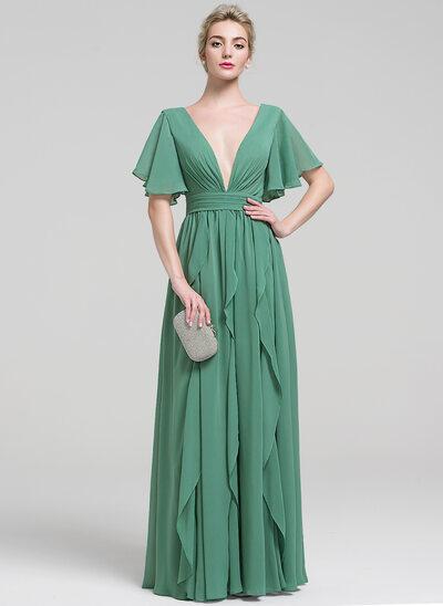 A-Line/Princess V-neck Floor-Length Chiffon Evening Dress With Beading Cascading Ruffles