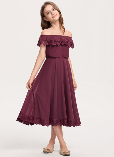A-Line Off-the-Shoulder Tea-Length Chiffon Lace Junior Bridesmaid Dress