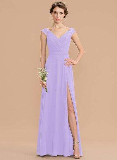 Corte A Decote V Longos Tecido de seda Renda Vestido de madrinha com Pregueado Frente aberta