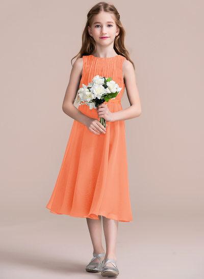 Vestidos princesa/ Formato A Decote redondo Comprimento médio Tecido de seda Vestido de daminha júnior com Pregueado