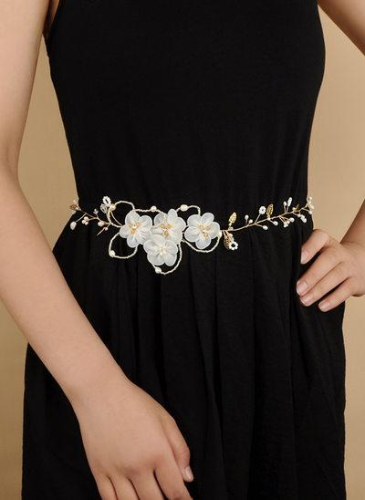 Gorgeous Satin Sash With Flower/Imitation Pearls