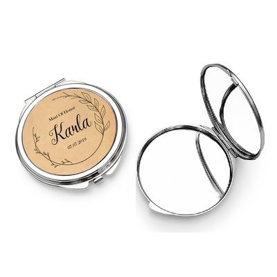 Bridesmaid Gifts - Personalized Classic Special Eye-catching Stainless Steel Compact Mirror