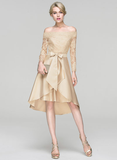 A-Line/Princess Off-the-Shoulder Asymmetrical Satin Cocktail Dress With Sequins Bow(s)