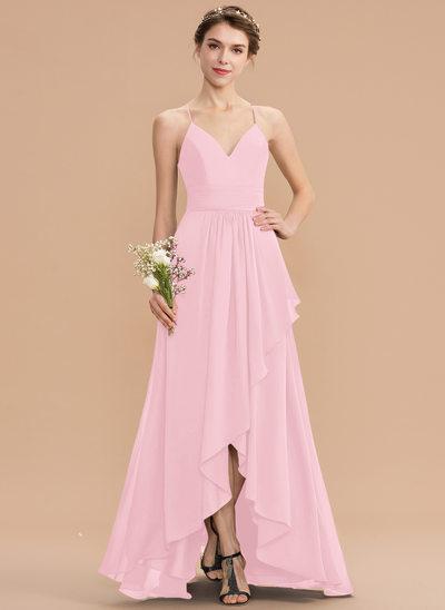 Corte A Decote V Assimétrico Tecido de seda Renda Vestido de madrinha