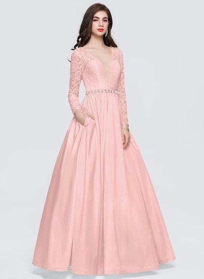 Balo Elbisesi V yaka Uzun Etekli Taffeta Mezuniyet Elbisesi Ile boncuklu kısım Cepler