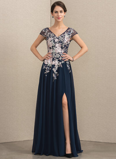 A-Line V-neck Floor-Length Chiffon Lace Evening Dress With Split Front