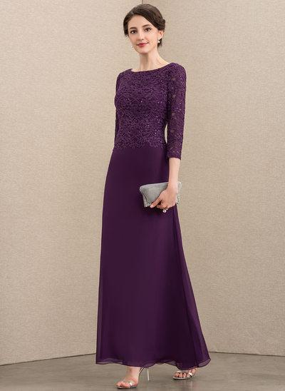 A-Linie U-Ausschnitt Knöchellang Chiffon Spitze Kleid für die Brautmutter mit Pailletten