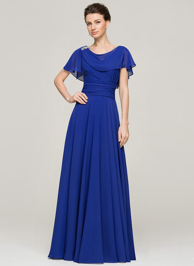 A-Linie/Princess-Linie U-Ausschnitt Bodenlang Chiffon Kleid für die Brautmutter mit Rüschen Perlstickerei Pailletten