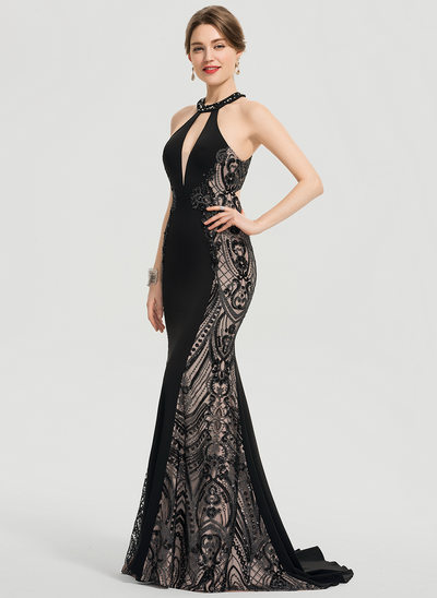 06b59ddbdf9b Trumpet/Mermaid Scoop Neck Sweep Train Stretch Crepe Prom Dresses With  Beading Sequins