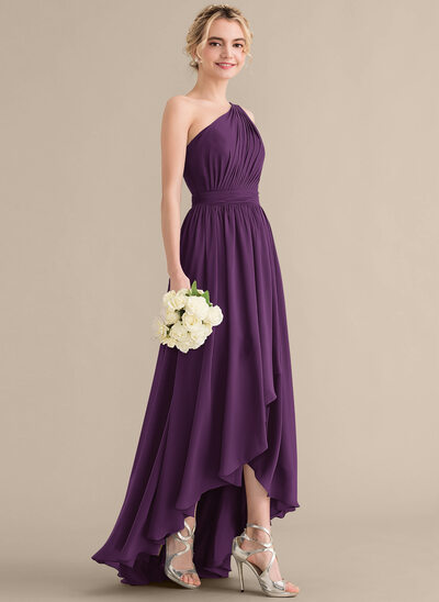 A-Line One-Shoulder Asymmetrical Chiffon Bridesmaid Dress