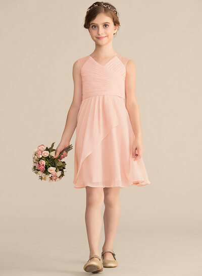 A-Line/Princess V-neck Knee-Length Chiffon Lace Junior Bridesmaid Dress With Cascading Ruffles