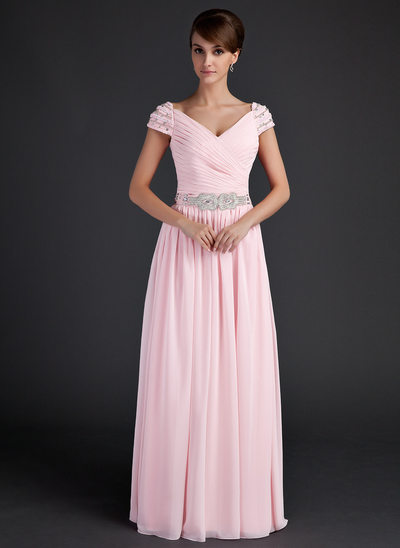 A-Line/Princess V-neck Floor-Length Chiffon Mother of the Bride Dress With Ruffle Beading