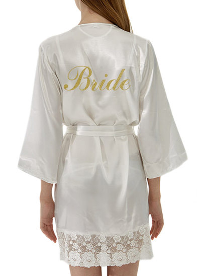 Personalized Bride Bridesmaid Satin Lace With Short Personalized Robes Satin & Lace Robes