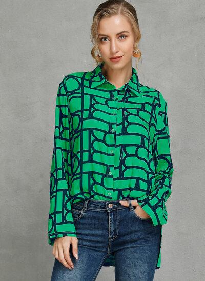 Geometric Print Long Sleeves Polyester Lapel Shirt Blouses Blouses