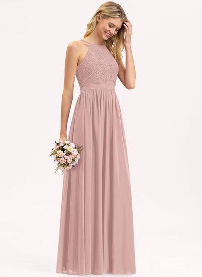 A-Line Square Neckline Floor-Length Chiffon Lace Bridesmaid Dress