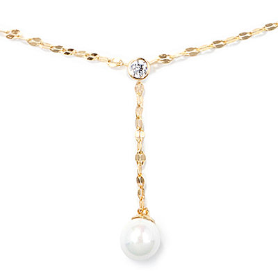 18k Gold Plated Silver Circle Pearl Pendant Necklace