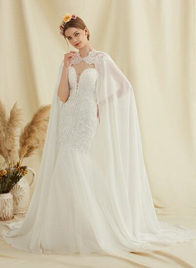 Trumpet/Mermaid Sweetheart Court Train Tulle Lace Wedding Dress