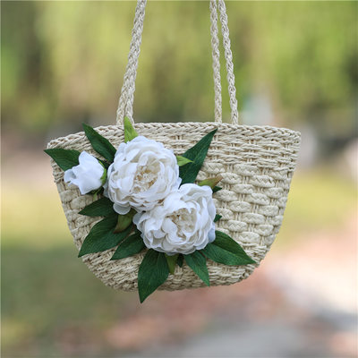Bridesmaid Gifts - Eye-catching Silk Straw Tote Bag