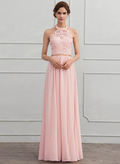 A-Line/Princess Halter Floor-Length Chiffon Evening Dress With Beading