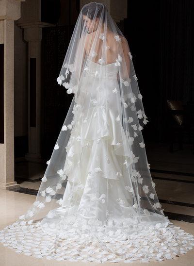Jednowarstwowe Katedra ślubny Welony Z Cięte Bez Lamówki