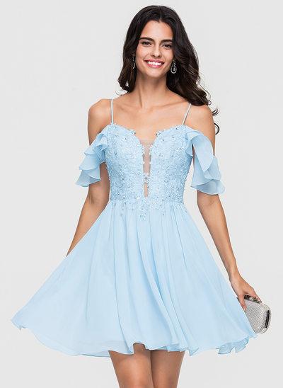 Çan/Prenses Sweetheart Kısa/Mini Şifon Mezunlar Gecesi Elbisesi Ile Dantel boncuklu kısım Payetler Basamaklı Ruffles