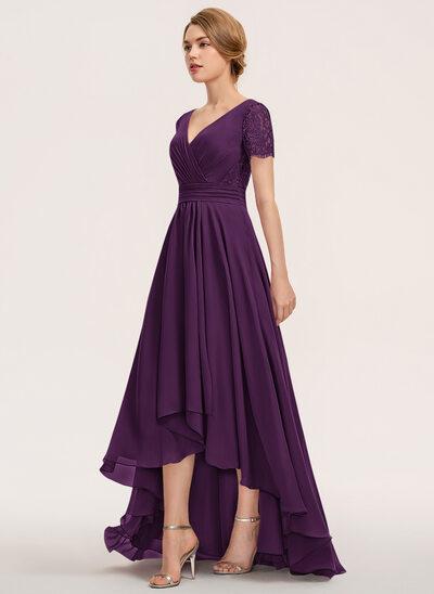 A-Line V-neck Asymmetrical Chiffon Lace Bridesmaid Dress With Ruffle