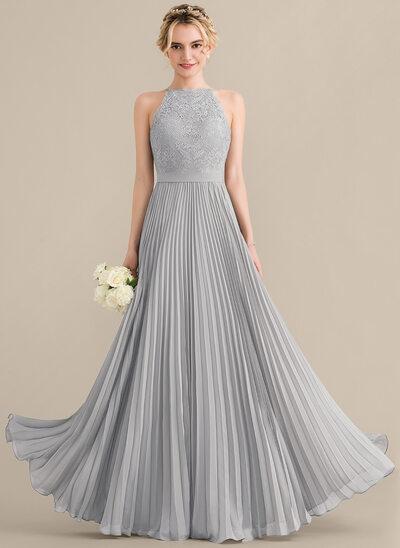 Çan/Prenses Yuvarlak Yaka Uzun Etekli Şifon Dantel Nedime Elbisesi Ile Büzgülü