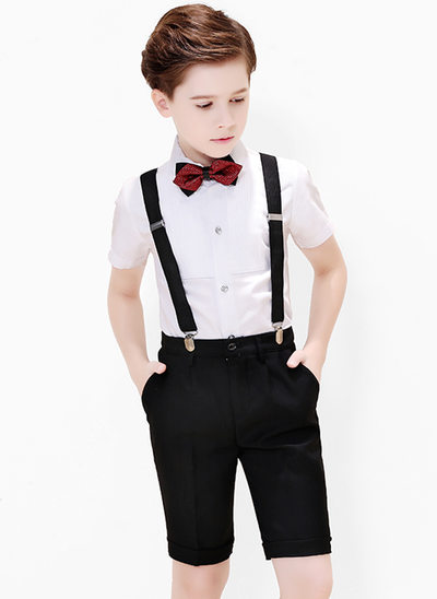 gutter 4 stykker Formell Stil Suits til ringbærere /Side Boy Suits med Skjorte sløyfe Suspender Shorts