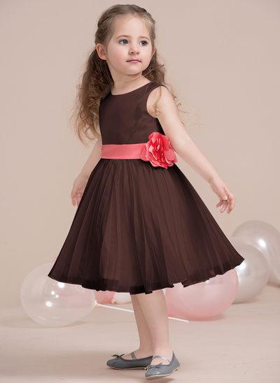 Vestidos princesa/ Formato A Decote redondo Coquetel Tecido de seda Vestido de daminha júnior com fecho de correr Curvado Plissada