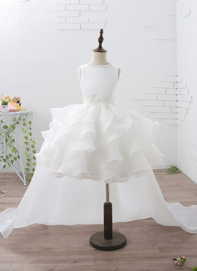 Empire Knee-length/Court Train Flower Girl Dress - Organza/Satin Sleeveless Scoop Neck With Ruffles/Beading/Appliques