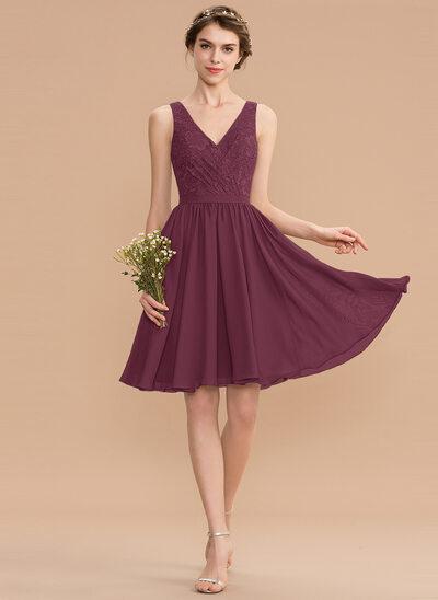 A-Line V-neck Knee-Length Chiffon Lace Bridesmaid Dress With Ruffle