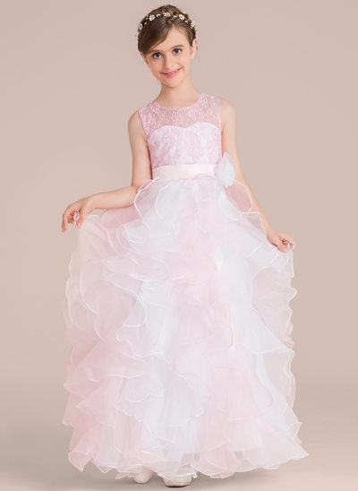 Scoop Neck Floor-Length Organza Junior Bridesmaid Dress With Flower(s)