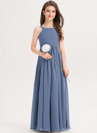 A-linjainen Pyöreä kaula-aukko Lattiaa hipova pituus Sifonki Nuorten morsiusneito mekko jossa Rypytys Pitsi