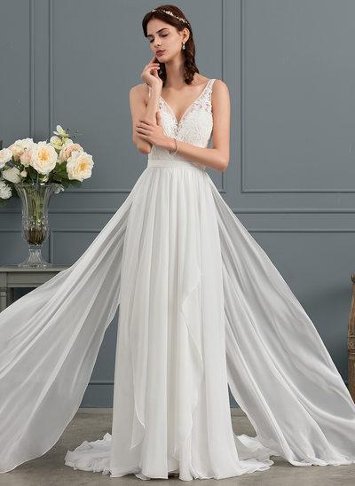 Vestidos princesa/ Formato A Decote V Sweep/Brush trem Tecido de seda Vestido de noiva com Babados em cascata