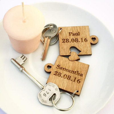 Groom Gifts - Personalized Classic Elegant Wooden Keychain (Set of 2)