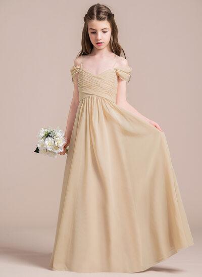 A-Line/Princess Off-the-Shoulder Floor-Length Chiffon Junior Bridesmaid Dress With Ruffle