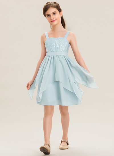 A-Line Sweetheart Knee-Length Chiffon Lace Junior Bridesmaid Dress With Cascading Ruffles