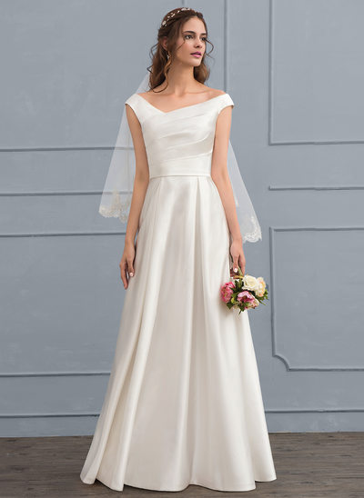 A-Line/Princess Off-the-Shoulder Floor-Length Satin Wedding Dress With Ruffle